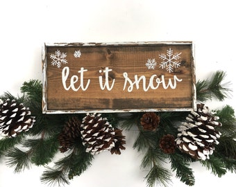 Let It Snow Handcrafted Wooden Christmas Sign