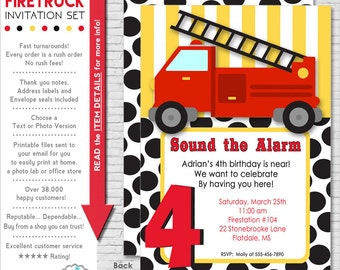 Firetruck Party Invitation | Firetruck Birthday Invitation | Fireman Invitation Printable | Firetruck Invite | Amanda's Parties To Go