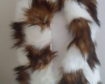 Designer Luxury Faux Fur Chequered Scarf