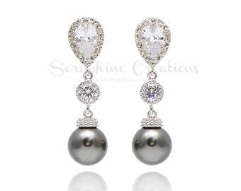 Dark Grey Pearl Earrings Bridesmaid Gift Wedding Jewelry Grey Bridesmaid Earrings Bridal Jewelry Swarovski Pearls Zirconia Charcoal K0159