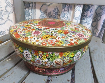 Vintage Daher Floral Tin Container Made in England