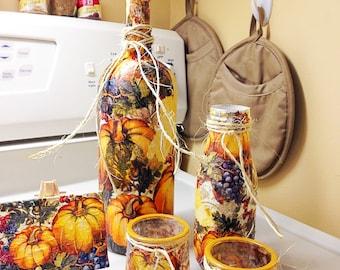Autumn / Fall /harvest / thanksgiving set of decorative bottles / table decor / centerpiece / thanksgiving centerpiece