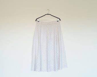 Vintage Oversized White and Black Polka Dot High Waist Pin Up Rockabilly Maxi Skirt