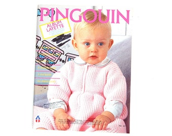 Pingouin Baby Layette Magazine #60, 53 Knit and Crochet Patterns French/European Knitting Designs Birth to 18 Months