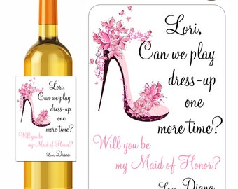 Custom Wine Labels Will You Be My Bridesmaid Maid of Honor Personalized Stickers Butterfly Shoes - Waterproof Vinyl 3.5 x 5 inch