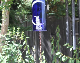 Hummingbird Moon Wine Bottle Wind Chime - Reduce Reuse Recycle Upcycle California Patio Decor Windchime Glass Art Handmade Birding Nature