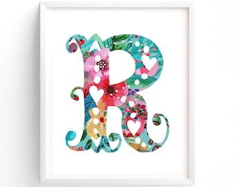 Printable, Letter R, Blue, Printable, Teal. Turquoise, Dorm Room, Nursery