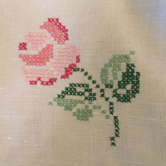 Vintage Linen Tablecloth with Hand-Stiched Pink Roses