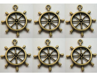 6 Pcs Ships Wheel Finding Bronze Antiqued Brass Color