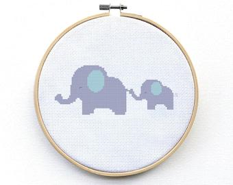 Cross Stitch Kit Beginner Baby, Elephant Kit - Modern Cross Stitch Kit - Elephant Cross Stitch Pattern - Modern Cross Stitch Pattern