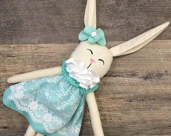Mint Easter basket bunny, plush rag doll, limited edition soft doll, stuffed animal, plushie, soft doll for baby