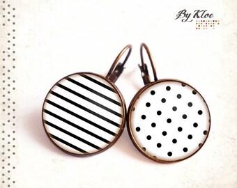 Earrings cabochon • polka dots and sailor • black white polka dots stripes glass