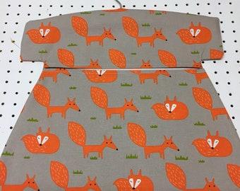 Modern Scandinavian Orange Fox Fabric Peg bag. Clothespin bag, Clothes peg bag. Laundry washing peg bag. Peg storage. Made in Cornwall.