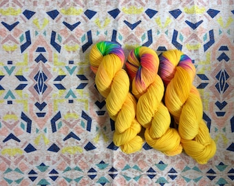 Hand dyed sock yarn. NEW colour Vitamin D.  High-twist BFL and nylon 100g. BFL is a British breed.