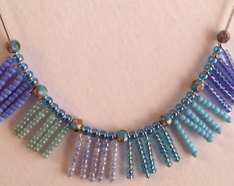 Seaside Beaded Block Necklace
