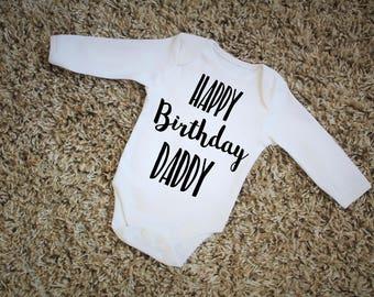 Happy Birthday Daddy Black Print Vest Bodysuit