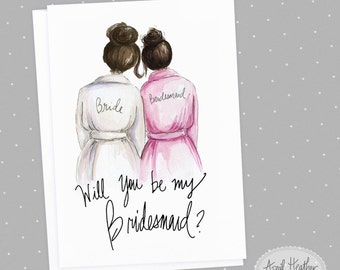 Bridesmaid PDF Brunette Bride and brunette Bridesmaid, Will You Be My bridesmaid card PDF printable card