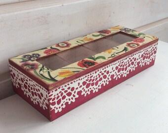 Wooden tea box, Tea bags holder, Tea bag box, Storage organization, Tea bags holder, Trinket box