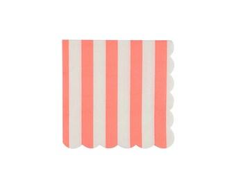 Coral Stripe Napkin, Small, Party Supplies, Meri Meri
