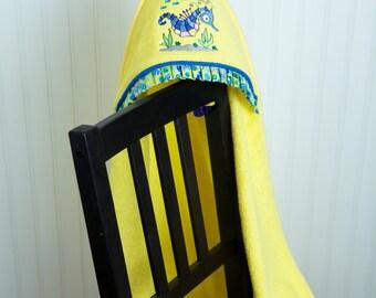seahorse hooded toddler towel ocean themed baby gift gender neutral