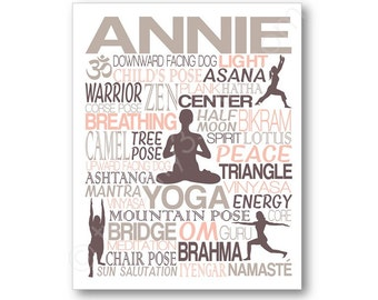 Yoga Typography Poster Print, Yoga Studio Name Art, Namaste Canvas, Yoga Canvas, Yoga Gift, Yoga Wall Art, Personalized Yoga Art, Yoga Art