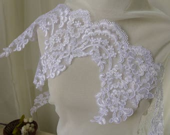Alencon Lace Trim In White Chantilly Eyelash Lace Bridal Lace Wedding Lace Scalloped Lace By The Yard