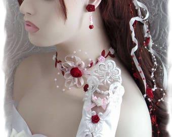 Little pink Burgundy, ivory bridal set
