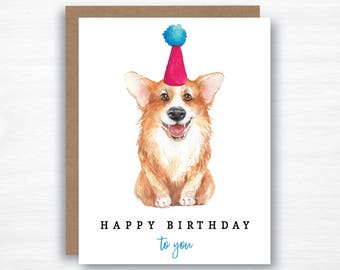 dog birthday card - corgi card - corgi birthday card - watercolor dog card - watercolor birthday card - watercolour birthday card
