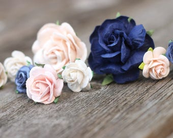 Navy Flower Hair Pins - Bridal Hair Bobby Pins - Champagne Wedding Flower - Bobby Pins Boho - Hair Picks Floral - Blush Bridesmaid Gift Set
