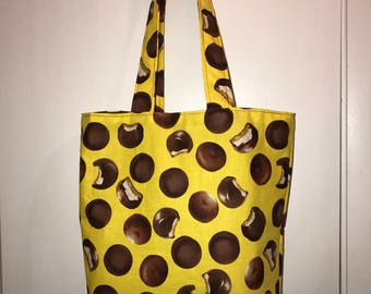 "Chocolate mallow-mars cookies on yellow w/ matching handles cotton fabric handmade 16"" Tote Bag"