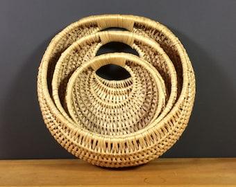 Nesting Wall Hanging Basket Set / Circle Rattan Wicker Wall Pockets / Three Wall Planters / Woven Wicker Air Plant Planters / Hanging Basket