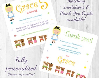 Goldilocks and The Three Bears Fairytale Story Themed Personalised Birthday Party Invitations/Invites/Thank You Cards Printed w' Envelopes