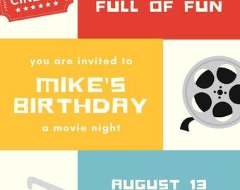 Birthday Invitation - Movie Night