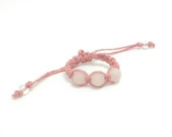 Baby Bracelet with Rose Quartz Stone Beads   HEMP Baby Bracelet   Customizable   Natural Jewelry for Baby   Baby Gift   Baby Girl