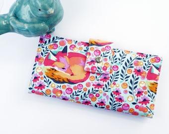 Vegan womens wallet, womens clutch, fox wallet, fox gift idea, wallet for woman, gift for woman, checkbook wallet, travel wallet