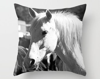 Horse Pillow, Horse Throw Pillow, White Horse Pillow Cover WITH Insert, Black and White Pillow, Horse Decor, Horse Lover Gift, Horse Gifts