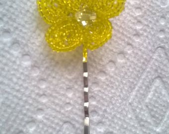 Yellow French Beaded Flower on Silverplated Bobby Pin - Hair Grip - Wedding, Bridesmaid, Prom