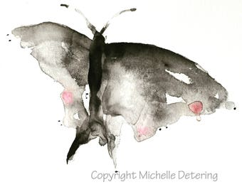 Moth Study - Watercolor Print on Paper, Watercolor, Watercolour, Moth Art, Moth Watercolor, Butterfly, Butterfly Art, Insect Watercolor, Art