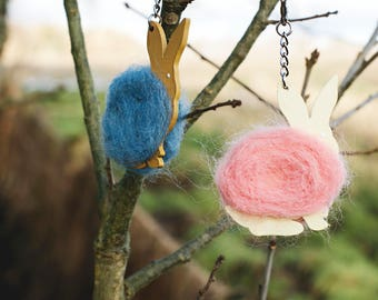 Pair of needle felt bunny keyrings, blue and pink rabbits