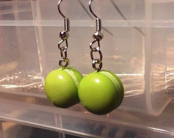 Key Lime Green Macaron/Macaroon Cookie Earrings - French Wire
