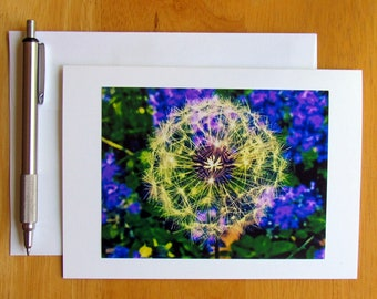 Wish Note Card, Photo Note Card, Dandelions, Flower Note Card, Notecards, Stationery, Floral Cards, Nature Note Cards, Blank Cards, Cards