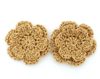 Christmas appliques, 2 gold two-layer shiny crochet flowers, cardmaking, scrapbooking, appliques, handmade, sew on patches embellishments