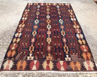 Large Kilim rug, 129'' x 69.7'' Vintage Turkish rug, rugs, area rug, vintage rug, bohemian rug, eccentric rug, anatolian rug, rug, 353
