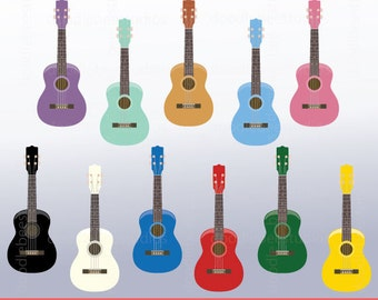 Ukulele Clipart, Colorful Ukulele Digital Download, Musical Instruments Clipart, Ukulele Instant Download