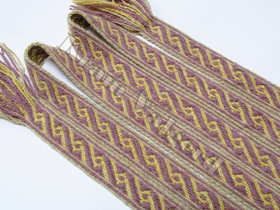 Tablet woven trim Birka pattern - tablet weaving, plant dyed thick wool, reenactment, viking age, historic outfit