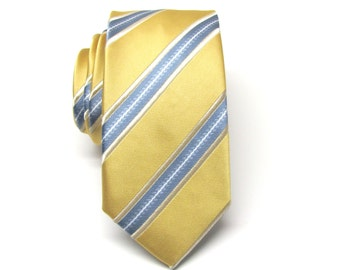 Mens Ties Gold Yellow Gray Stripes Skinny Necktie