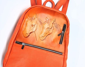 Leather Custom Made Mini Backpack-Horse Design-Gift