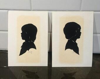 Signed Audrey Waite Paper Cut out Silhouettes