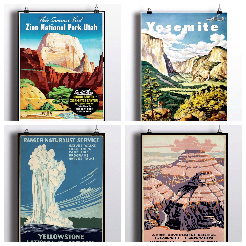 National Park Poster Set Vintage Prints Yosemite Print