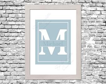 Custom Monogram Nursery Print in Pastel Blue, Pink or Yellow - Digital Download